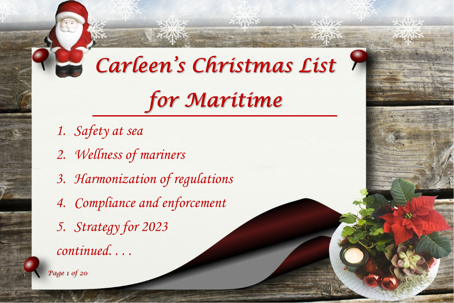 Carleen's Christmas List For Maritime
